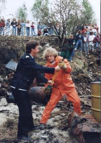 Frederic Hauge demonstrerer mot Norsk Hydro 14. mai 1991.