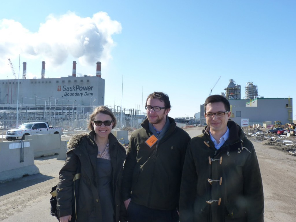 Representatives fro bellona EU in front of the Sask Power CCS facility