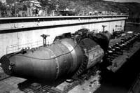 Victor class submarine at Nerpa shipyard, Kola Peninsula