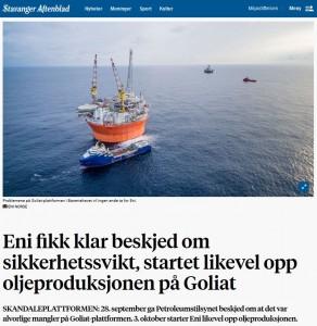 Aftenbladet Goliat ENi startet prod tross pålegg