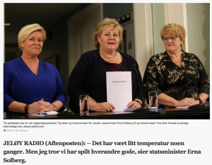 Partilederne Siv Jensen - Erna Solberg - Trine Skei Grande regjeringsplattform