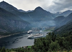 Cruisebåter i Geirangerfjorden.