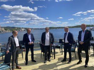 Steffen Syvertsen (Agder Energi), Bjørn Rune Gjelsten (NOAH), Frederic Hauge (Bellona), Ole Erik Almlid (NHO) og Terje Andersen (Morrow Batteries).
