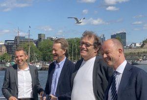 Presenterer Morrow Batteries. (f.v.) Steffen Syvertsen, Bjørn Rune Gjelsten, Frederic Hauge og Ole Erik Almlid.