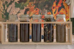 Ulike bioressurser kan resirkuleres eller brukes på nye måter. Fra venstre husdyrgjødsel hvor vannet har blitt fjernet, biorest fra et biogassanlegg, rapsfrø, alger fra havet og fiskeslam.