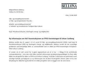 Utklipp av Bellonas andre varselsbrev sendt 21.08.2020