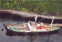 Lepse service ship helicopter view