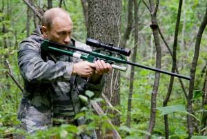 Vladimir Putin shooting a Siberian tiger with a tranquilizer gun.