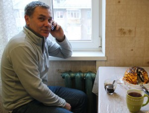 Vitishko talking on the phone in Tuapse. (Photo: EWNC)