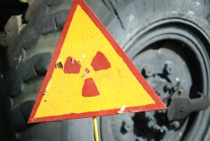 Warning sign radioactive contaminated vessel