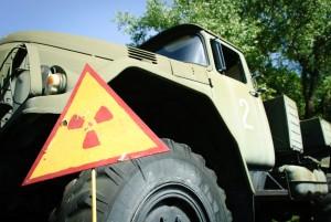 Warning sign radioactive contaminated vessel