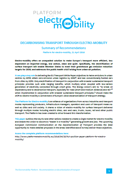 Electro-mobility Platform_Recommendations Paper
