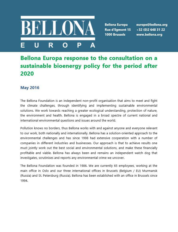 bioenergy sustainability criteria consultation