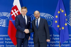 Official visit of Slovak Prime Minister to the European Parliament in Strasbourg. Martin Schulz, EP President welcomes Robert Fico, Slovak Prime Minister
