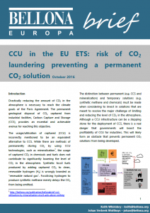 BellonaBrief CCU in the EU ETS cover page