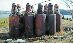 "Spent nuclear fuel stored in so-called ""bottles"" at an open-air site in Andreyeva Bay. (Photo: Bellona)"