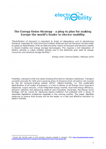 Emobility Platform Energy Union Paper