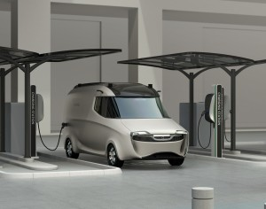 Delivery van in charging station