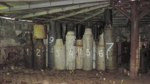 "Spent nuclear fuel stored in so-called ""bottles"" atAndreyeva Bay. (Photo:  Fylkesmannen i Finnmark)"