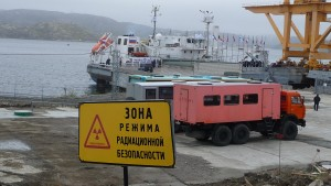 The Rossita getting ready to disembark with the first of Andreyeva Bay's spent nuclear fuel. (Photo: Anna Kireeva)