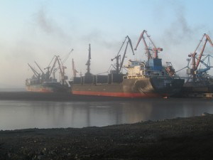 Loading coal at a Russian port.