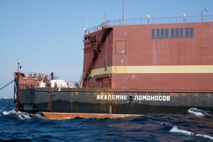 The Akademik Lomonosov, Russia's floating nuclear power plant, at sea.