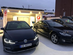 The new electric car charging station in Kirkenes, Norway.