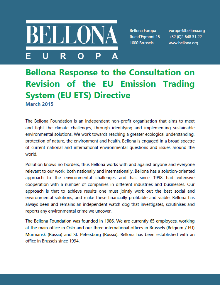Bellona response to ETS consultation