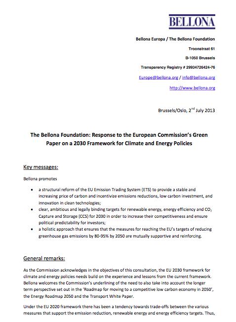 Bellona's response to  EU 2030 framework Green Paper