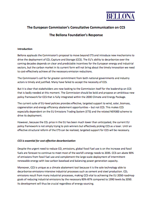 Bellona's response to the EC Consultative Communication on CCS