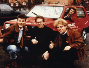 The band A-Ha with Frederic Hauge and their electric car