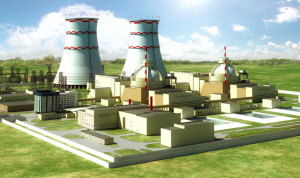 A mock-up of the new Smolensk NPP with two VVER-TOI reactors. (Source: Rosenergoatom)