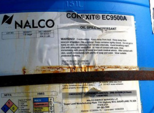 A label on a canister of Corexit listing warnings that were ignored by BP. (Photo: Courtesy of Brokovich.com)