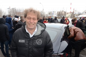 Frederic Hauge after completing a trip from Oslo to Murmansk in Tesla Model S, in 2014-
