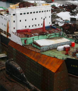 The Lepse's radiation barriers under construction. (Source: Nerpa)