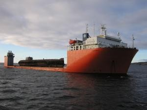 Dockwise'a hevy lift vessel with the K-60 on deck.  (Ingress image)