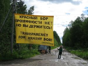 Krasniy Bor Greenpeace action banner