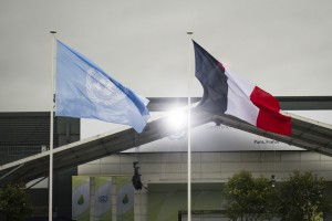Flags above Le Bourget, site of COP21