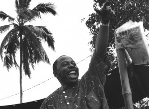Ken Saro-Wiwa, local leader, speaking at Ogoni Day demonstration,  Nigeria.  The demonstration was officially called to mark the start of  UNICEF's International Year of Indigenous People, but unofficially it  was against the Shell oil company.