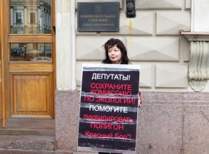 Виктория Маркова, председатель МИГа в пикете у Законодательного собрания Санкт-Петербурга. 5 октября 2016 года.