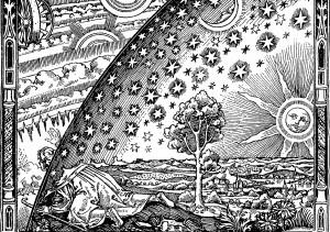 «Гравюра Фламмариона» (автор неизвестен, не ранее XVIII века) изображает человека  с посохом в руке, одетого в средневековую одежду пилигрима. Он добрался до края  Земли и сквозь занавес небесного свода рассматривает устройство Вселенной.